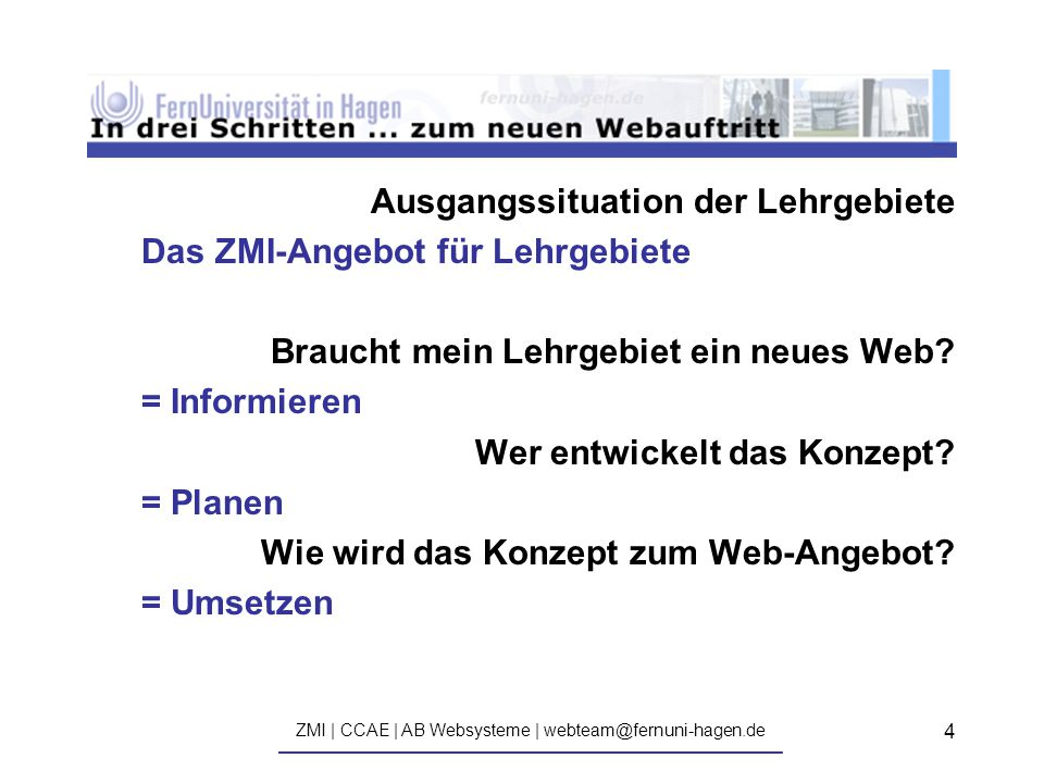 ZMI | CCAE | AB Websysteme | webteam@fernuni-hagen.de ————————————————————————————— 4 Ausgangssituation der Lehrgebiete Das ZMI-Angebot für Lehrgebiete Braucht mein Lehrgebiet ein neues Web.