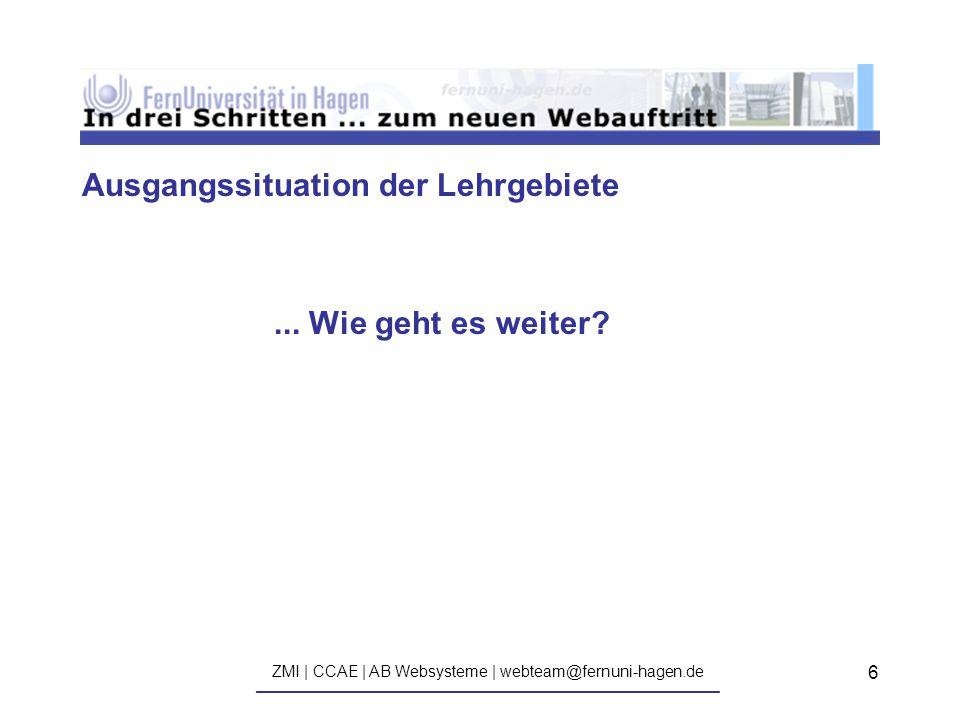 ZMI | CCAE | AB Websysteme | webteam@fernuni-hagen.de ————————————————————————————— 6 Ausgangssituation der Lehrgebiete...