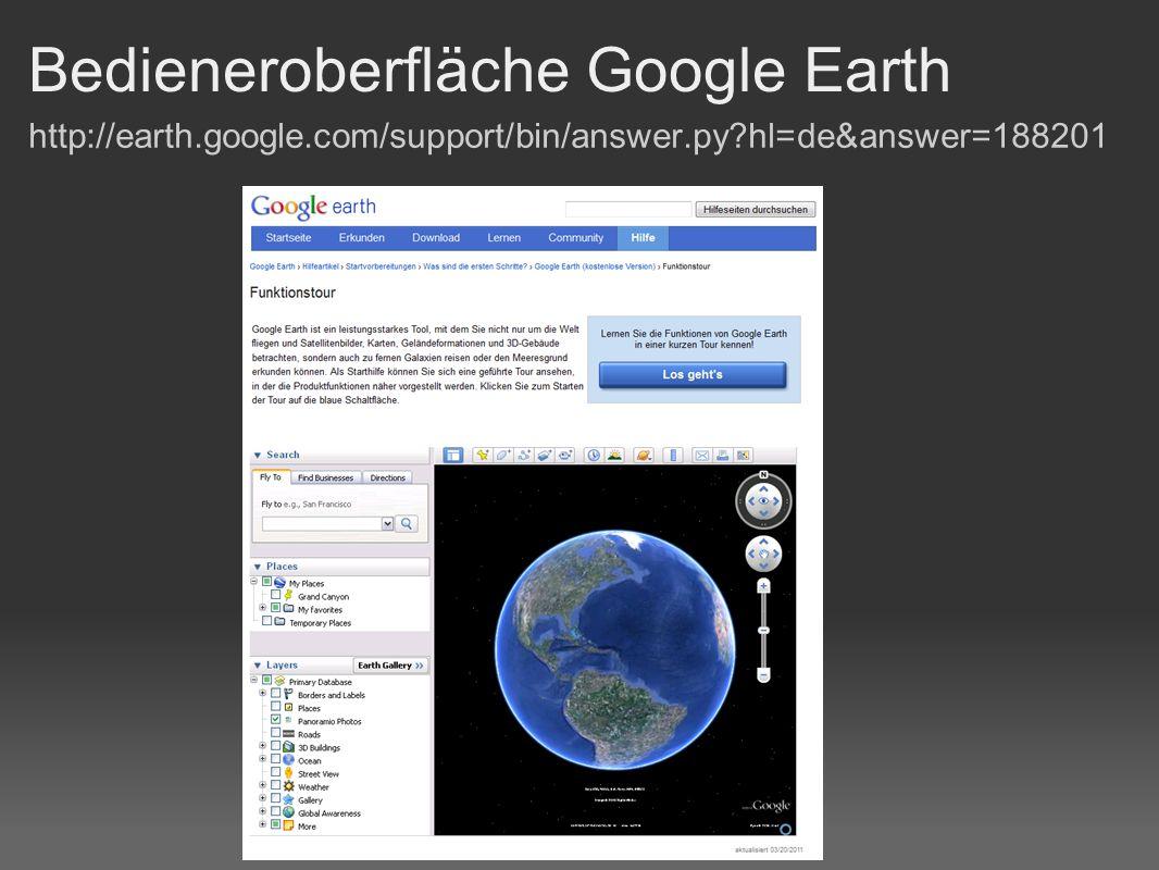 Bedienelemente Google Earth