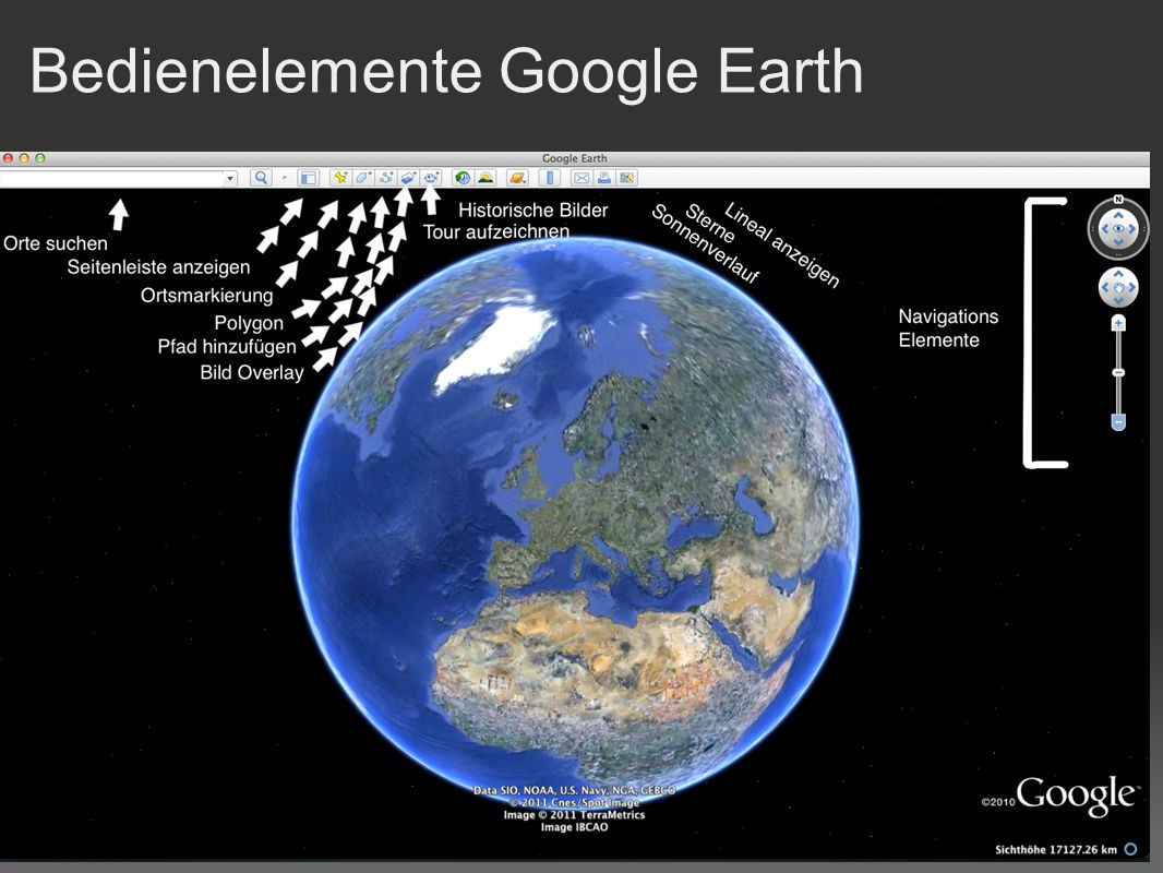Bedienelemente Google Earth