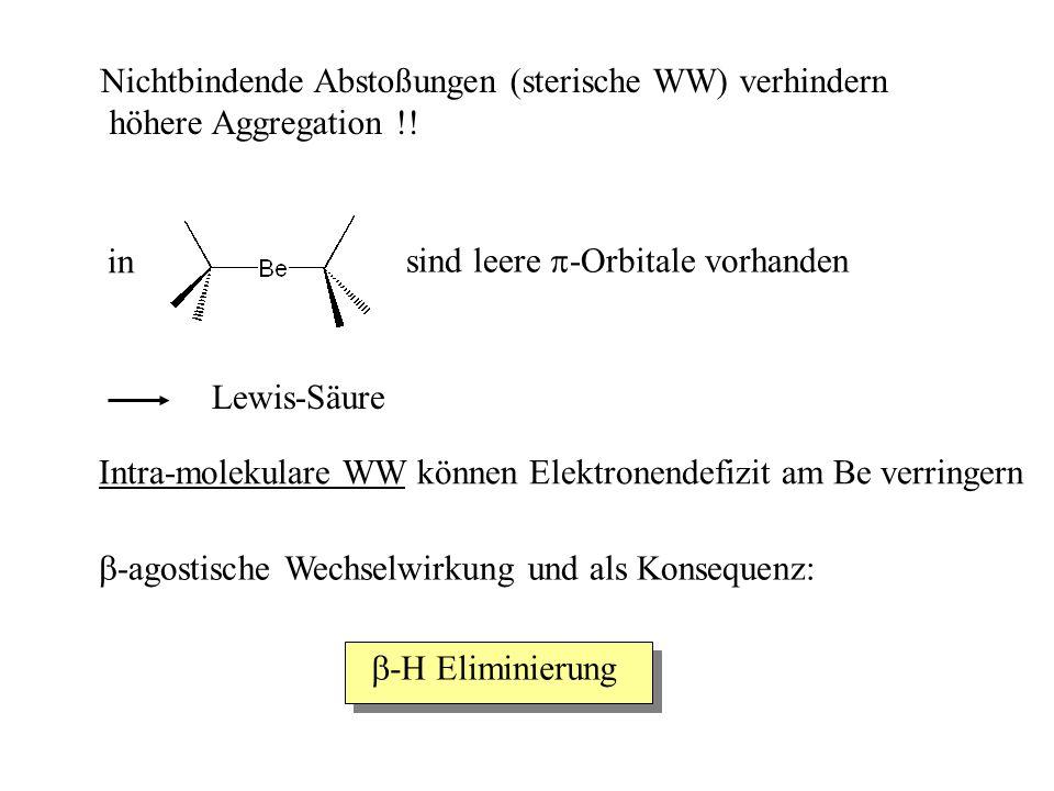 Nichtbindende Abstoßungen (sterische WW) verhindern höhere Aggregation !.