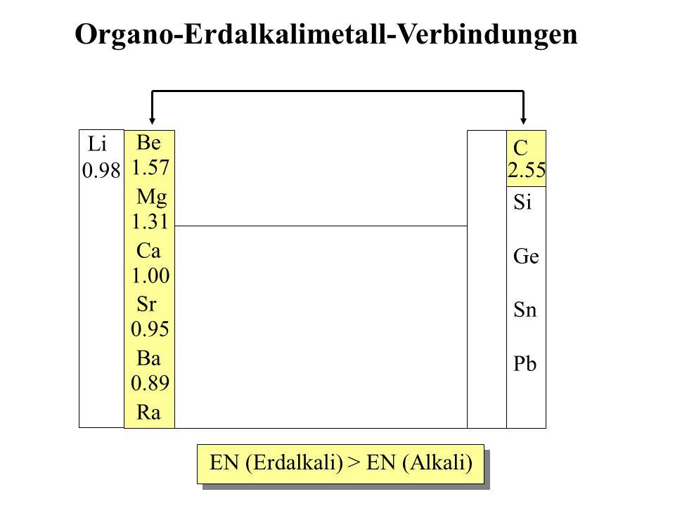 Be Mg Ca Sr Ba Ra C Si Ge Sn Pb Organo-Erdalkalimetall-Verbindungen 2.55 1.57 1.31 1.00 0.95 0.89 EN (Erdalkali) > EN (Alkali) Li 0.98