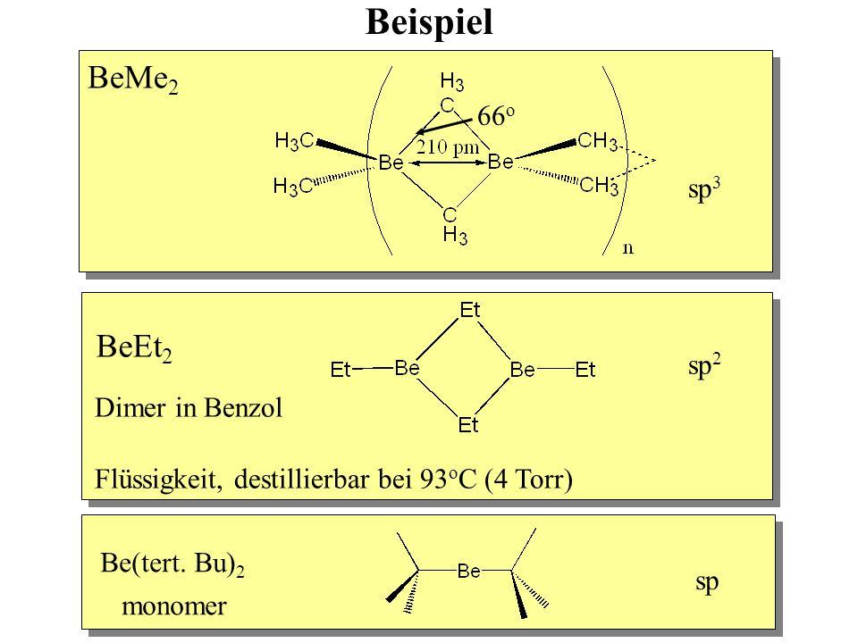 Beispiel BeMe 2 sp 3 66 o BeEt 2 Dimer in Benzol Flüssigkeit, destillierbar bei 93 o C (4 Torr) sp 2 Be(tert.