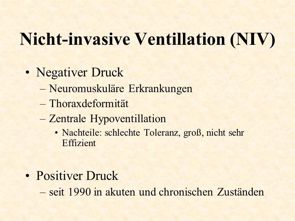 Nicht-invasive Ventillation (NIV) Negativer Druck –Neuromuskuläre Erkrankungen –Thoraxdeformität –Zentrale Hypoventillation Nachteile: schlechte Toler