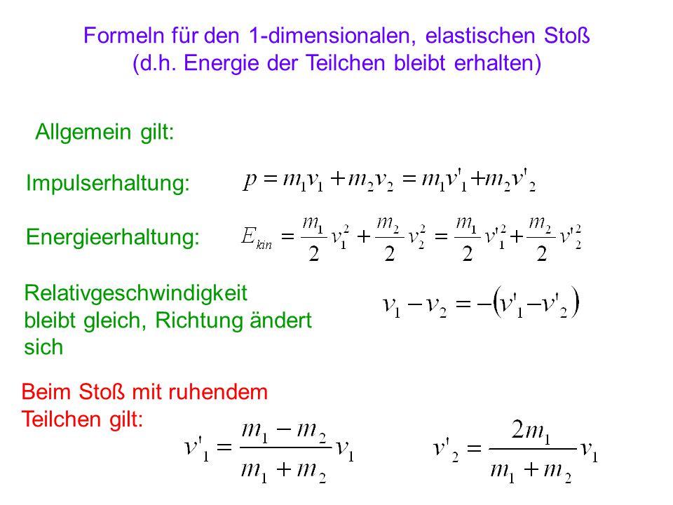 Formeln für den 1-dimensionalen, elastischen Stoß (d.h. Energie der Teilchen bleibt erhalten) Allgemein gilt: Impulserhaltung: Energieerhaltung: Relat