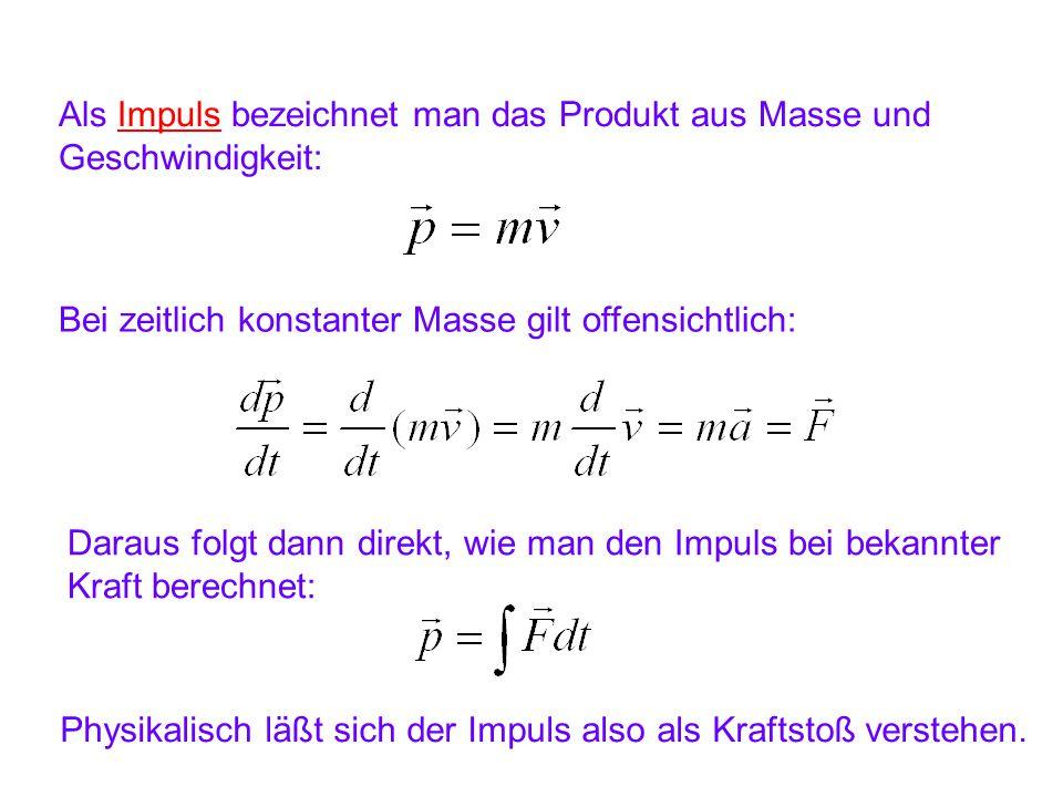 Als Impuls bezeichnet man das Produkt aus Masse und Geschwindigkeit: Bei zeitlich konstanter Masse gilt offensichtlich: Daraus folgt dann direkt, wie