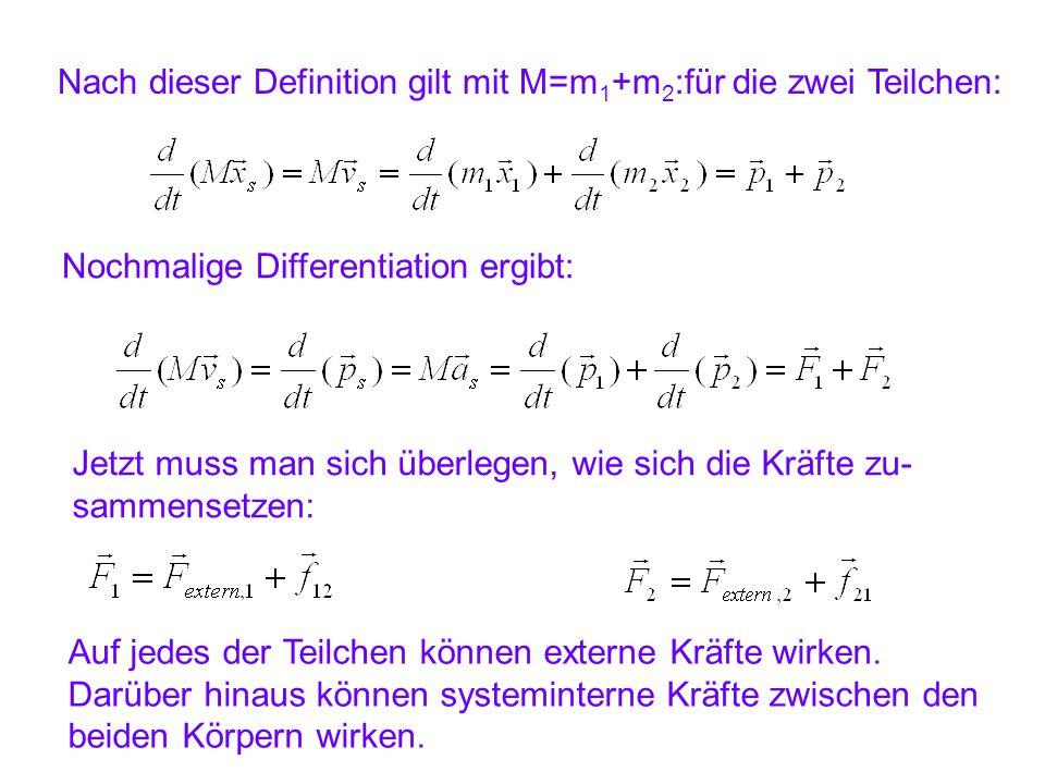 Nach dieser Definition gilt mit M=m 1 +m 2 :für die zwei Teilchen: Nochmalige Differentiation ergibt: Jetzt muss man sich überlegen, wie sich die Kräf