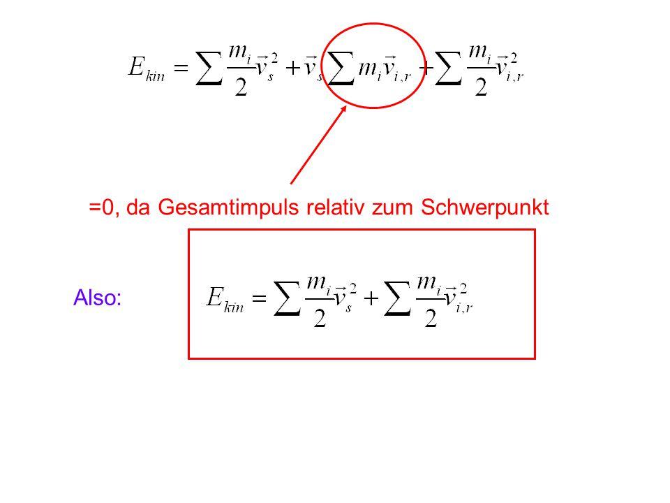 =0, da Gesamtimpuls relativ zum Schwerpunkt Also: