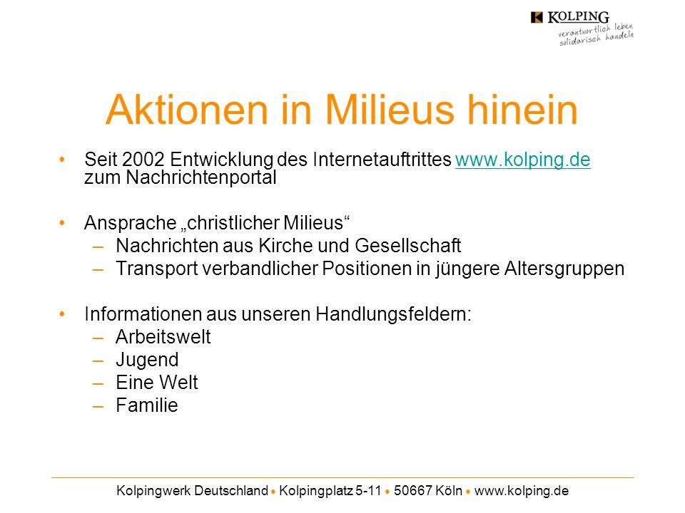 Kolpingwerk Deutschland ● Kolpingplatz 5-11 ● 50667 Köln ● www.kolping.de Aktionen in Milieus hinein Seit 2002 Entwicklung des Internetauftrittes www.