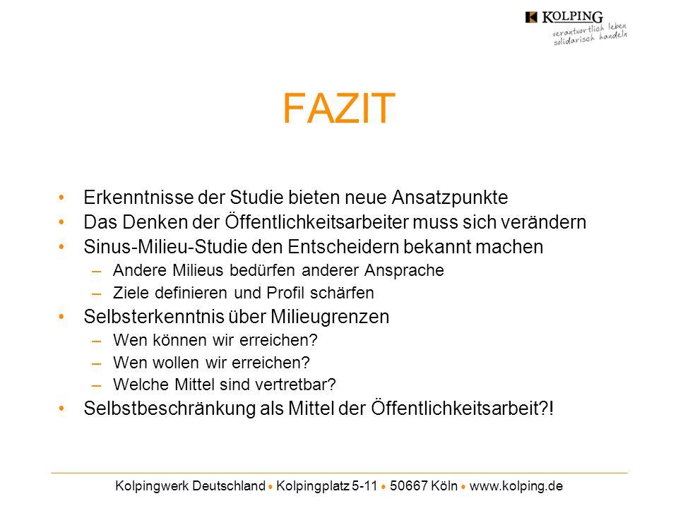 Kolpingwerk Deutschland ● Kolpingplatz 5-11 ● 50667 Köln ● www.kolping.de FAZIT Erkenntnisse der Studie bieten neue Ansatzpunkte Das Denken der Öffent