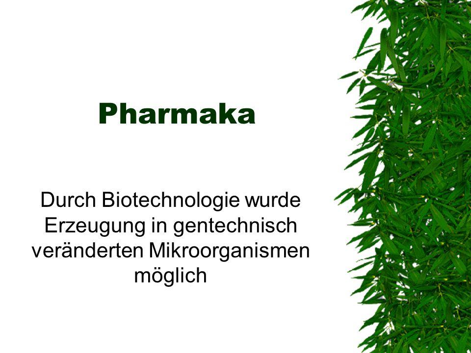 Pharmaka Durch Biotechnologie wurde Erzeugung in gentechnisch veränderten Mikroorganismen möglich