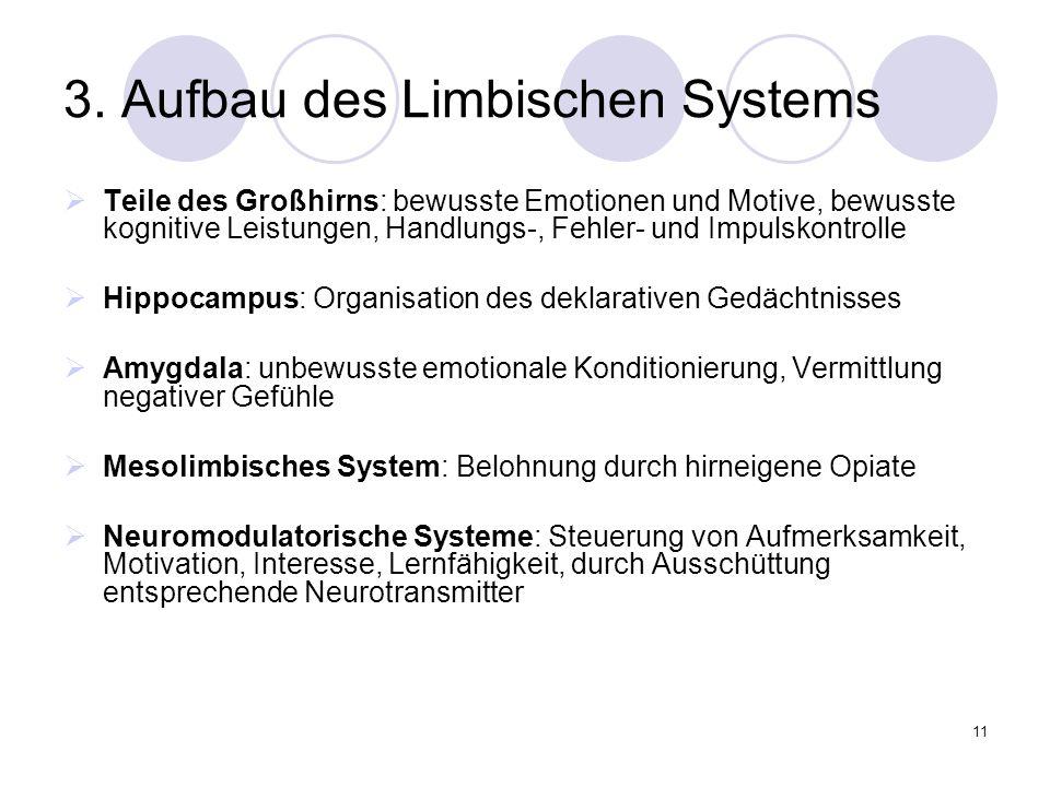 11 3. Aufbau des Limbischen Systems  Teile des Großhirns: bewusste Emotionen und Motive, bewusste kognitive Leistungen, Handlungs-, Fehler- und Impul