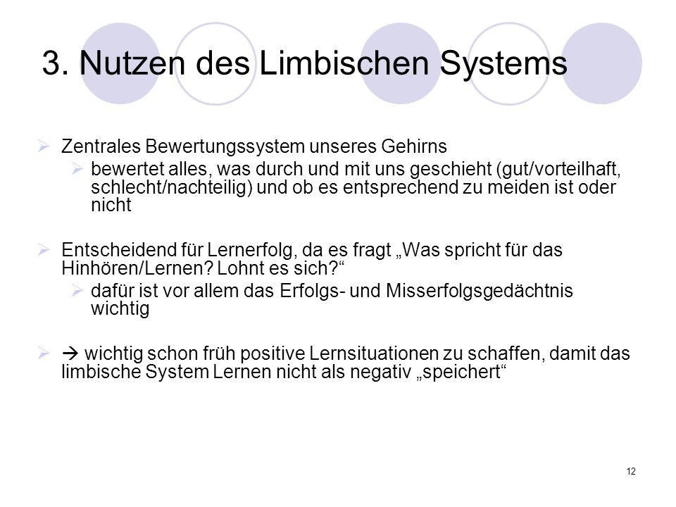 12 3. Nutzen des Limbischen Systems  Zentrales Bewertungssystem unseres Gehirns  bewertet alles, was durch und mit uns geschieht (gut/vorteilhaft, s