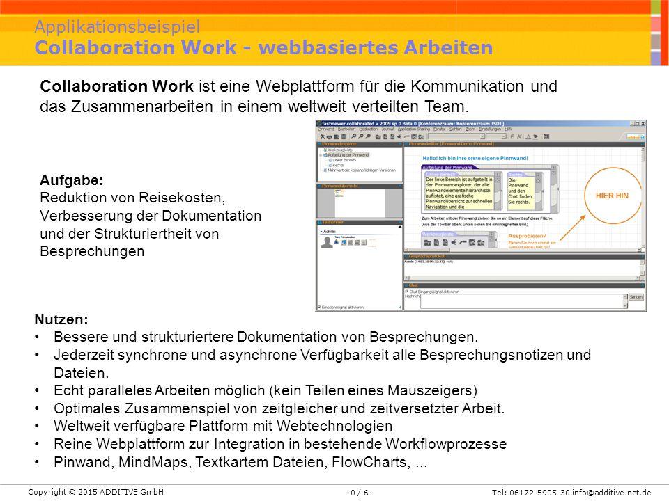 Copyright © 2015 ADDITIVE GmbH Tel: 06172-5905-30 info@additive-net.de/ 6110 Applikationsbeispiel Collaboration Work - webbasiertes Arbeiten Aufgabe: