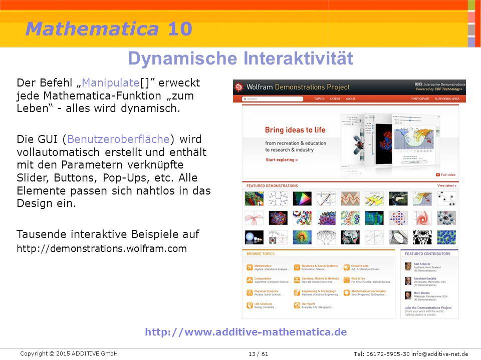"""Copyright © 2015 ADDITIVE GmbH Tel: 06172-5905-30 info@additive-net.de/ 6113 Der Befehl """"Manipulate[]"""" erweckt jede Mathematica-Funktion """"zum Leben"""" -"""
