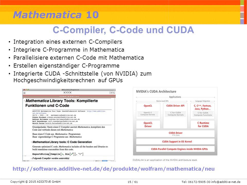 Copyright © 2015 ADDITIVE GmbH Tel: 06172-5905-30 info@additive-net.de/ 6115 Integration eines externen C-Compilers Integriere C-Programme in Mathemat