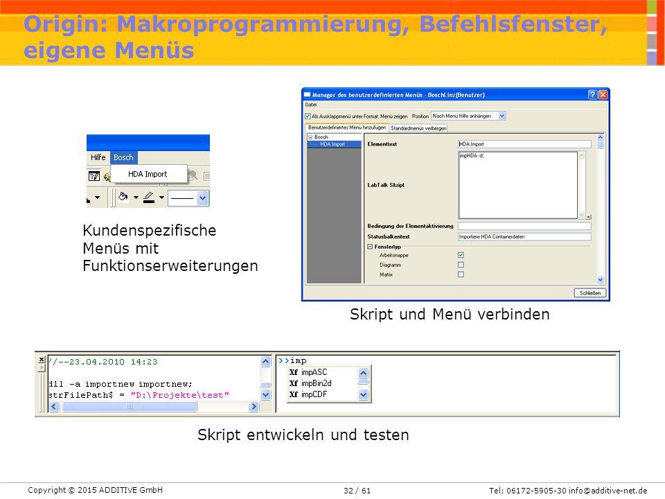 Copyright © 2015 ADDITIVE GmbH Tel: 06172-5905-30 info@additive-net.de/ 6132 Origin: Makroprogrammierung, Befehlsfenster, eigene Menüs Kundenspezifisc