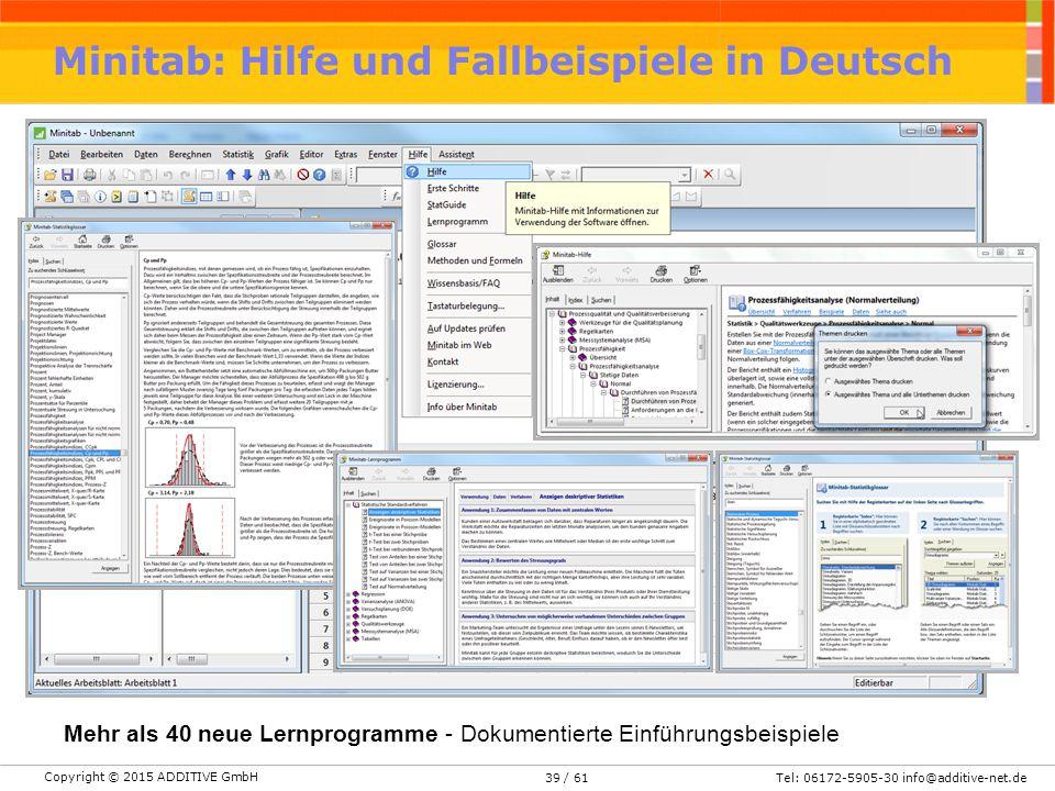 Copyright © 2015 ADDITIVE GmbH Tel: 06172-5905-30 info@additive-net.de/ 6139 Minitab: Hilfe und Fallbeispiele in Deutsch Mehr als 40 neue Lernprogramm