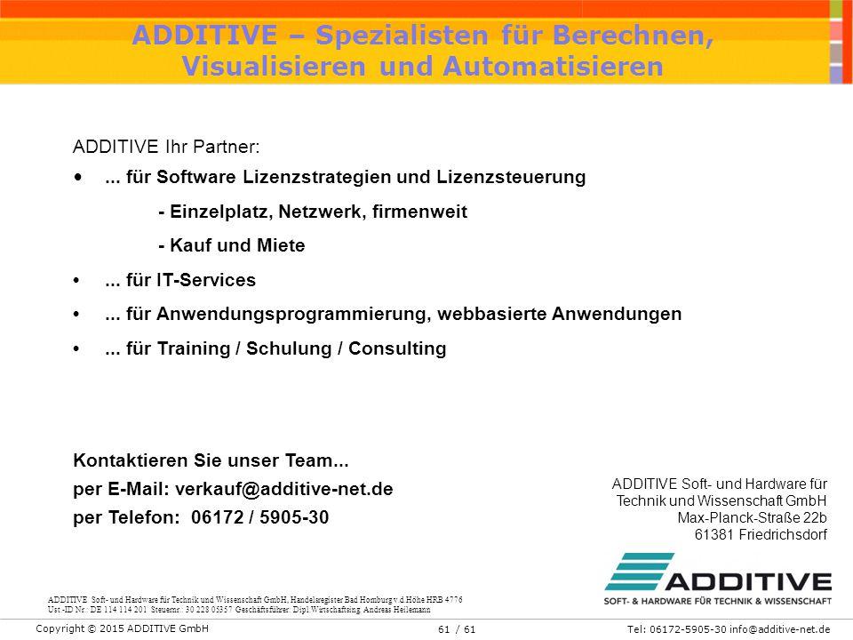 Copyright © 2015 ADDITIVE GmbH Tel: 06172-5905-30 info@additive-net.de/ 6161 ADDITIVE – Spezialisten für Berechnen, Visualisieren und Automatisieren A