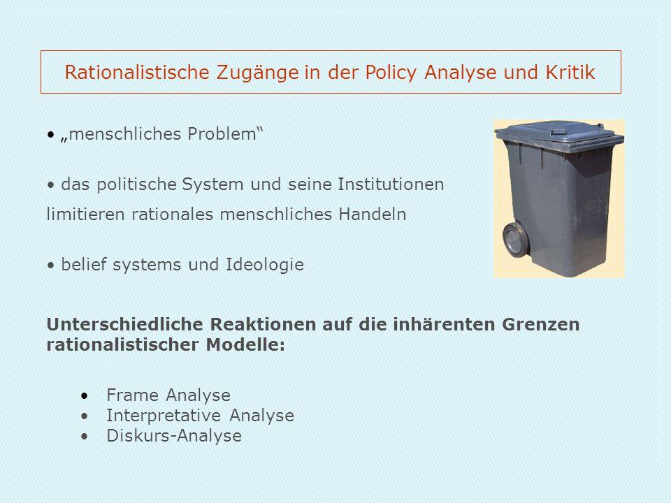 """""""menschliches Problem"""" das politische System und seine Institutionen limitieren rationales menschliches Handeln belief systems und Ideologie Unterschi"""
