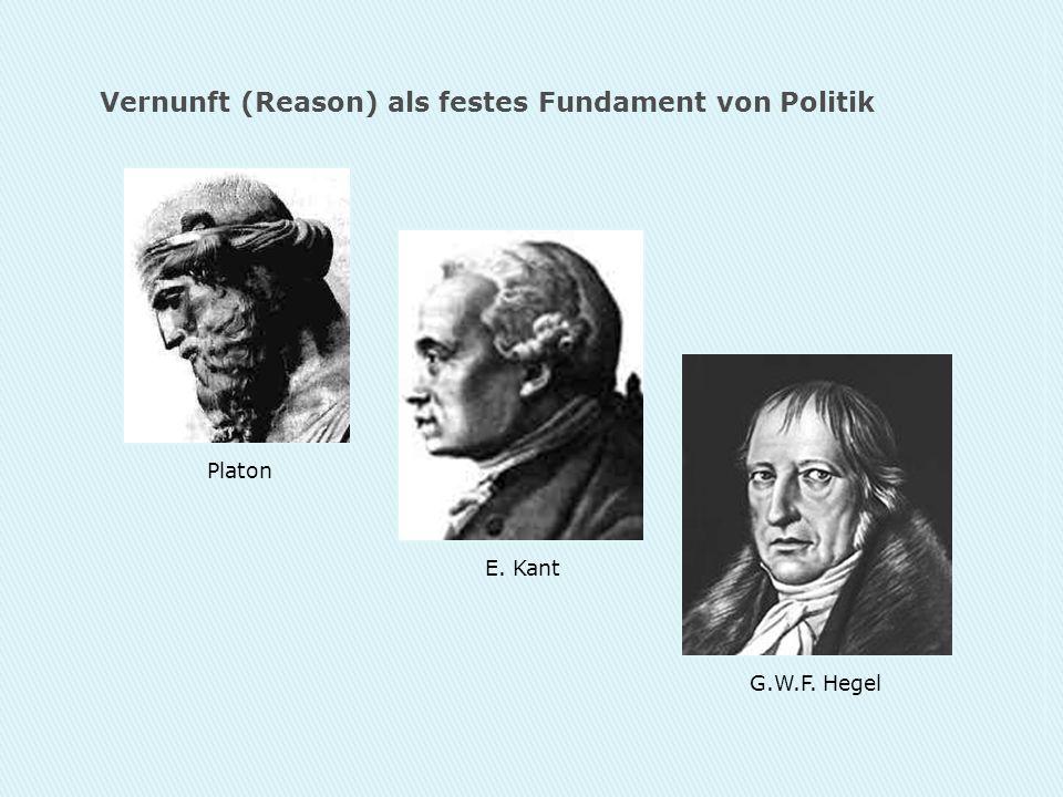 Vernunft (Reason) als festes Fundament von Politik Platon E. Kant G.W.F. Hegel