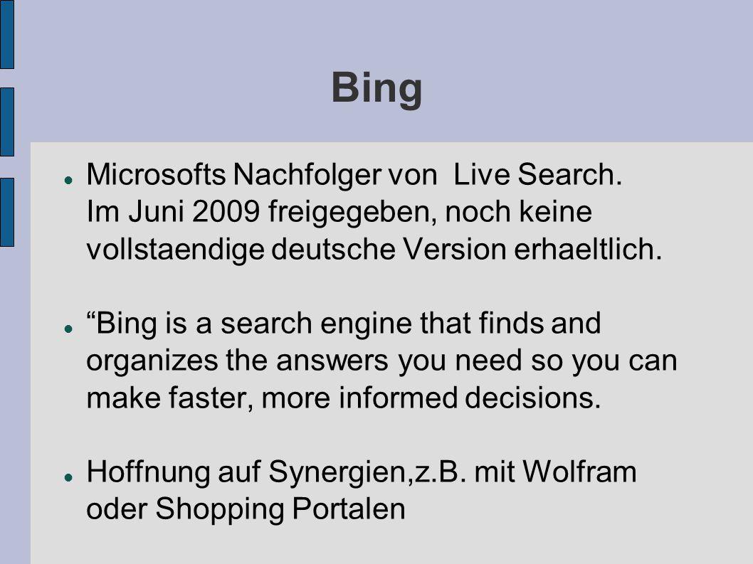 Bing Microsofts Nachfolger von Live Search.