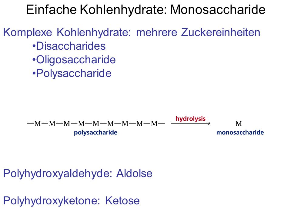 Einfache Kohlenhydrate: Monosaccharide Komplexe Kohlenhydrate: mehrere Zuckereinheiten Disaccharides Oligosaccharide Polysaccharide Polyhydroxyaldehyde: Aldolse Polyhydroxyketone: Ketose