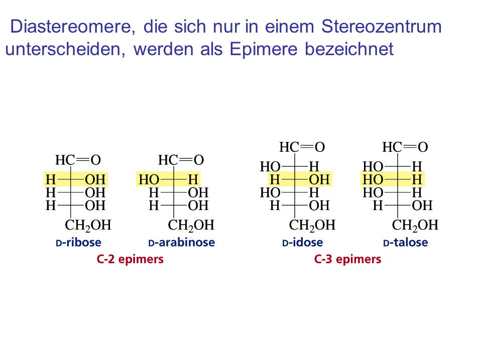 Diastereomere, die sich nur in einem Stereozentrum unterscheiden, werden als Epimere bezeichnet