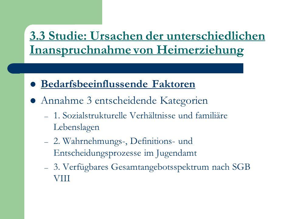 3.3 Studie: Ursachen der unterschiedlichen Inanspruchnahme von Heimerziehung Bedarfsbeeinflussende Faktoren Annahme 3 entscheidende Kategorien – 1. So