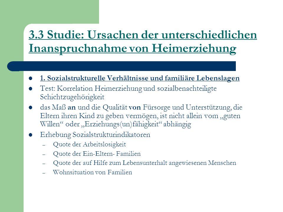3.3 Studie: Ursachen der unterschiedlichen Inanspruchnahme von Heimerziehung 1. Sozialstrukturelle Verhältnisse und familiäre Lebenslagen Test: Korrel