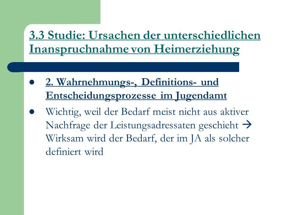 3.3 Studie: Ursachen der unterschiedlichen Inanspruchnahme von Heimerziehung 2. Wahrnehmungs-, Definitions- und Entscheidungsprozesse im Jugendamt Wic