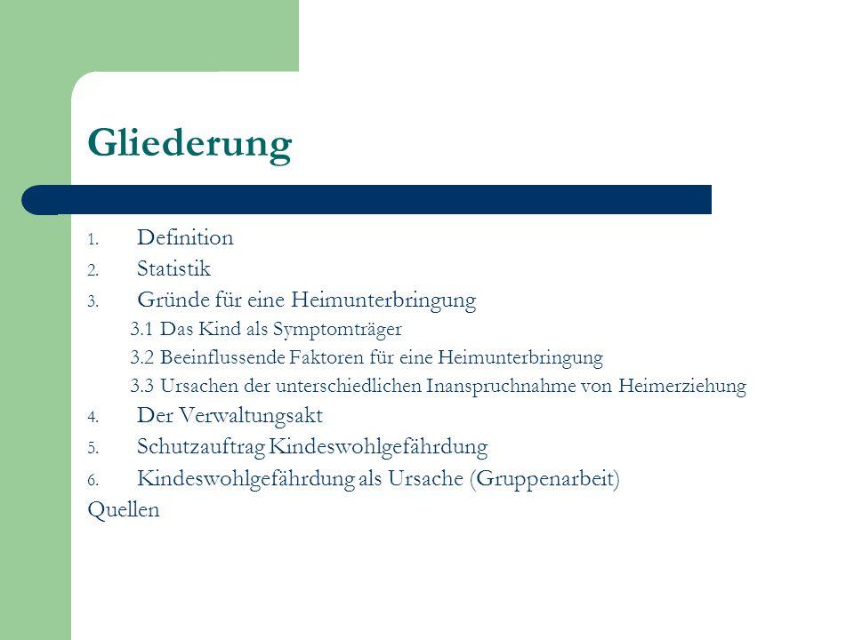 Gliederung 1. Definition 2. Statistik 3. Gründe für eine Heimunterbringung 3.1 Das Kind als Symptomträger 3.2 Beeinflussende Faktoren für eine Heimunt