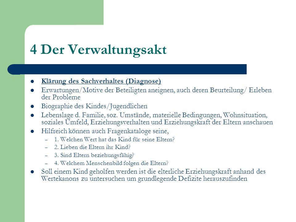 4 Der Verwaltungsakt Klärung des Sachverhaltes (Diagnose) Erwartungen/Motive der Beteiligten aneignen, auch deren Beurteilung/ Erleben der Probleme Bi