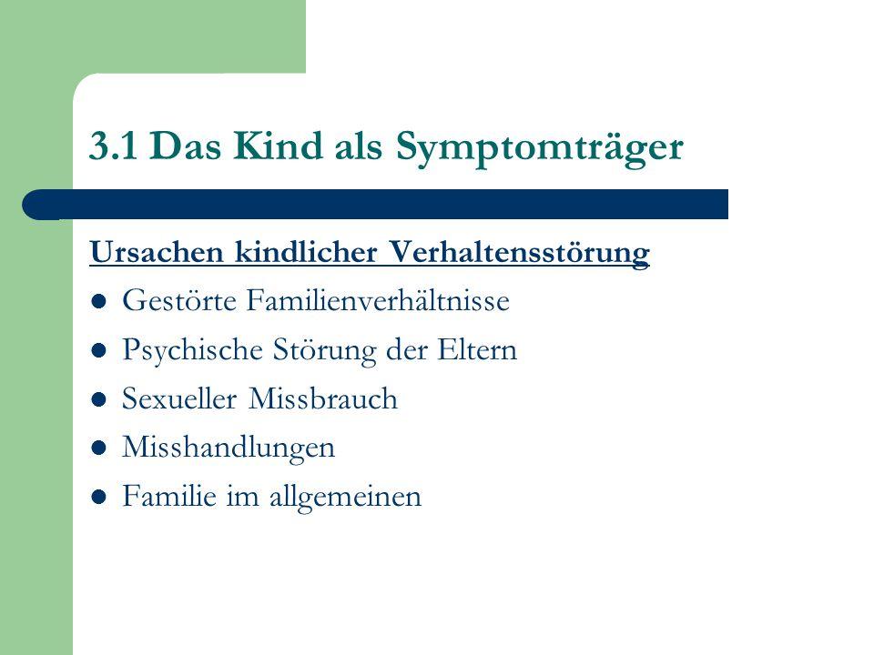 3.1 Das Kind als Symptomträger Ursachen kindlicher Verhaltensstörung Gestörte Familienverhältnisse Psychische Störung der Eltern Sexueller Missbrauch