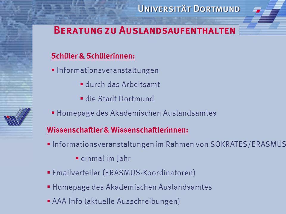 Beratung zu Auslandsaufenthalten Wie wird informiert? Studierende:  Sprechstunden  Homepage des Akademischen Auslandsamtes  Informationsveranstaltu