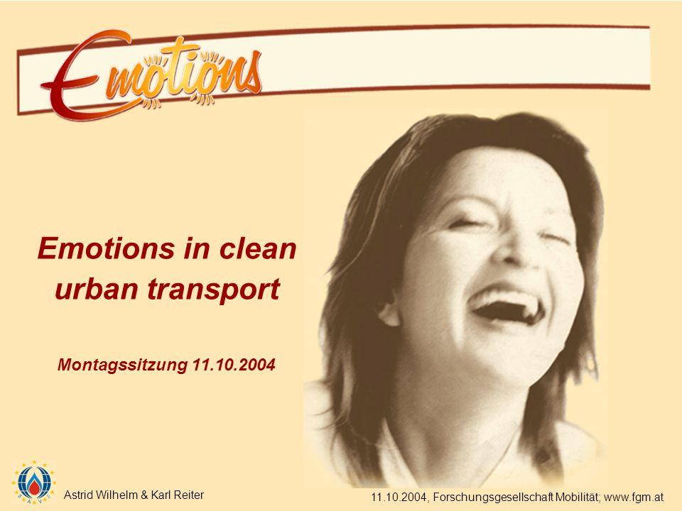 Astrid Wilhelm & Karl Reiter 11.10.2004, Forschungsgesellschaft Mobilität; www.fgm.at Emotions in clean urban transport Montagssitzung 11.10.2004