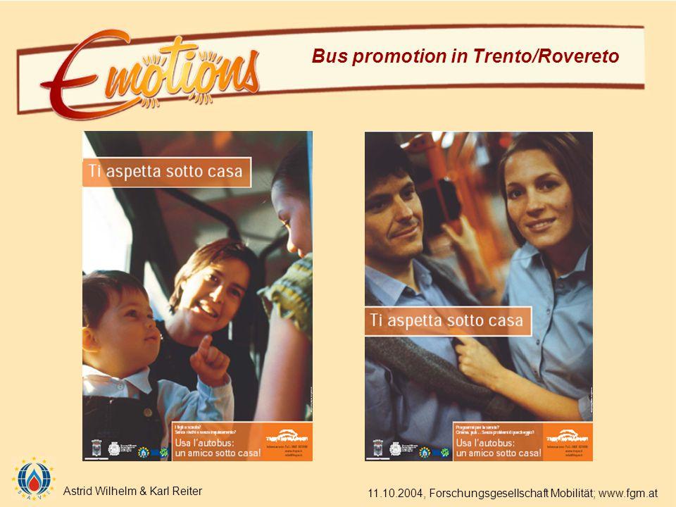 Astrid Wilhelm & Karl Reiter 11.10.2004, Forschungsgesellschaft Mobilität; www.fgm.at Bus promotion in Trento/Rovereto