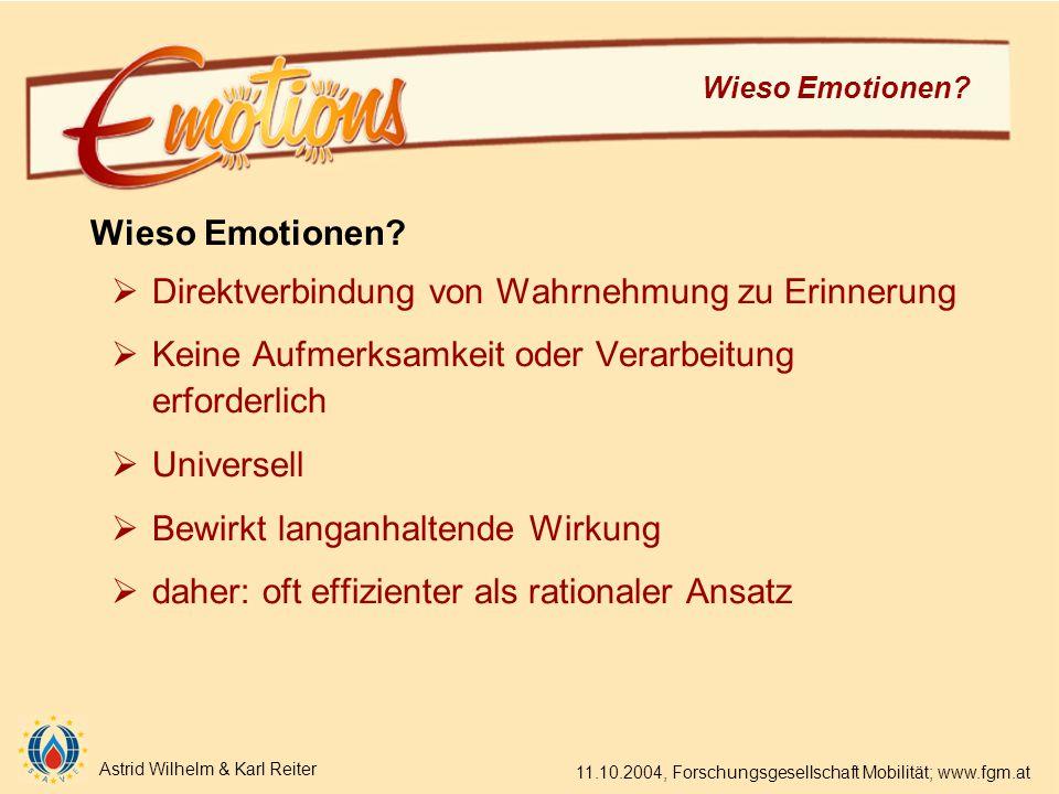 Astrid Wilhelm & Karl Reiter 11.10.2004, Forschungsgesellschaft Mobilität; www.fgm.at Wieso Emotionen.