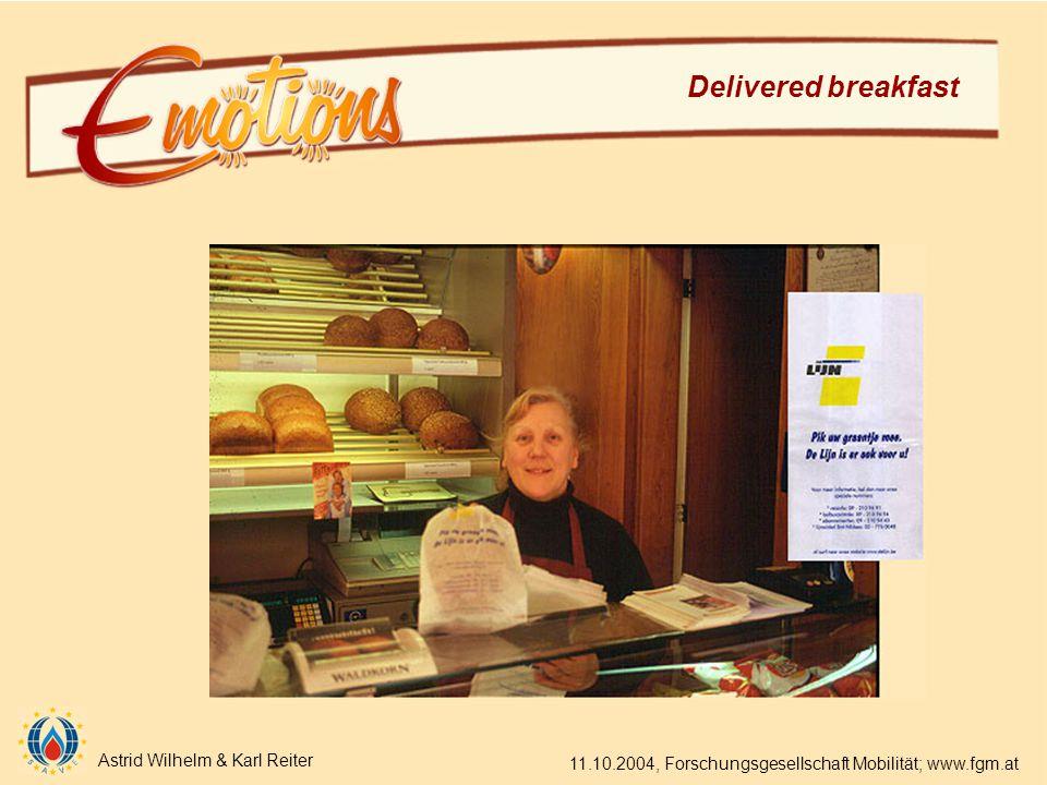 Astrid Wilhelm & Karl Reiter 11.10.2004, Forschungsgesellschaft Mobilität; www.fgm.at Delivered breakfast
