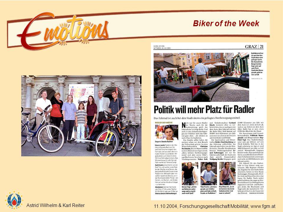 Astrid Wilhelm & Karl Reiter 11.10.2004, Forschungsgesellschaft Mobilität; www.fgm.at Biker of the Week