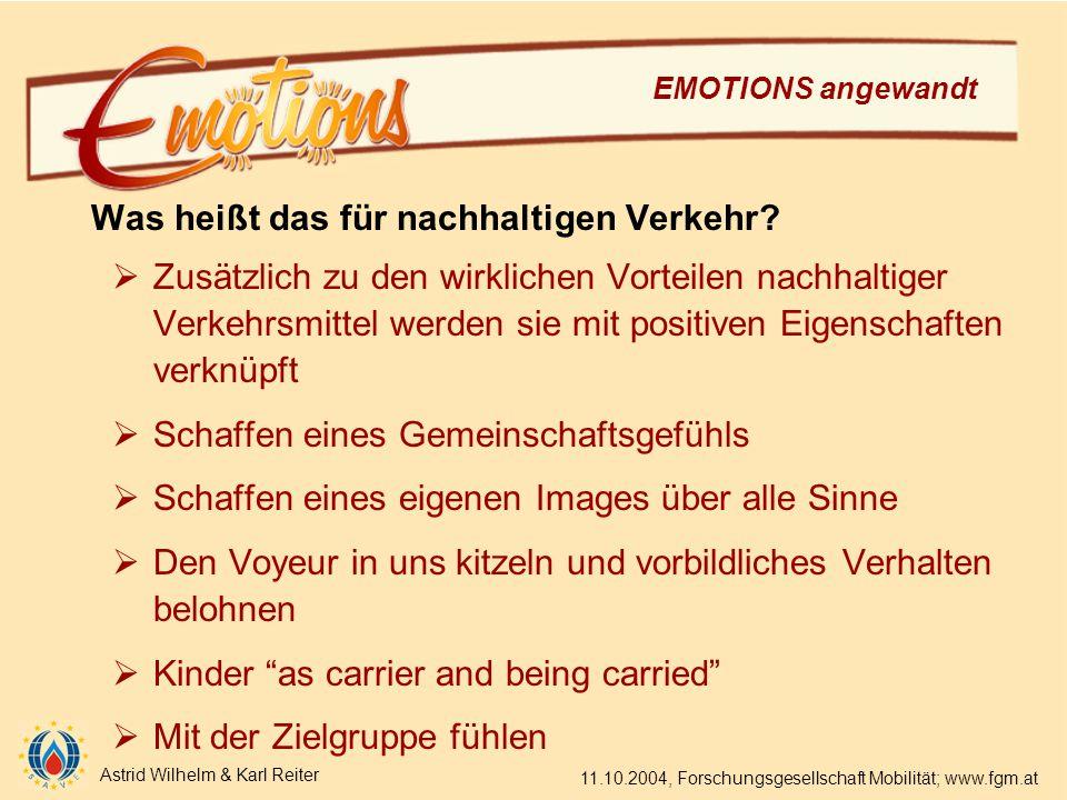 Astrid Wilhelm & Karl Reiter 11.10.2004, Forschungsgesellschaft Mobilität; www.fgm.at EMOTIONS angewandt Was heißt das für nachhaltigen Verkehr.