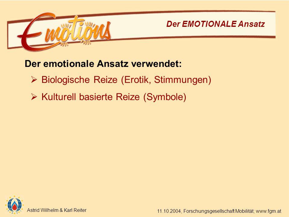 Astrid Wilhelm & Karl Reiter 11.10.2004, Forschungsgesellschaft Mobilität; www.fgm.at Der EMOTIONALE Ansatz Der emotionale Ansatz verwendet:  Biologische Reize (Erotik, Stimmungen)  Kulturell basierte Reize (Symbole)