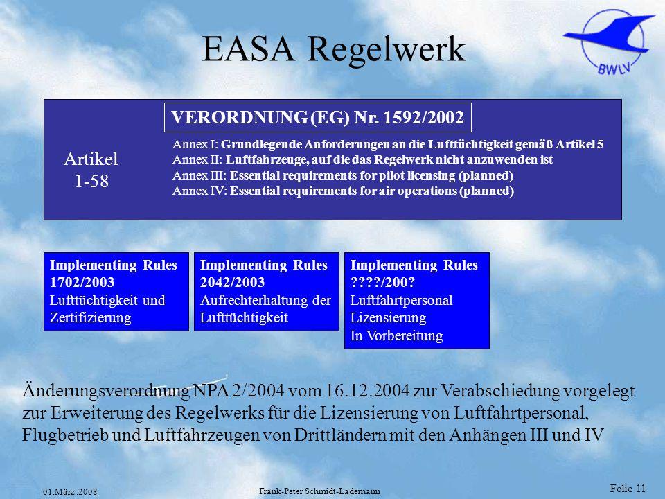 Folie 11 01.März.2008 Frank-Peter Schmidt-Lademann EASA Regelwerk VERORDNUNG (EG) Nr. 1592/2002 Artikel 1-58 Annex I: Grundlegende Anforderungen an di