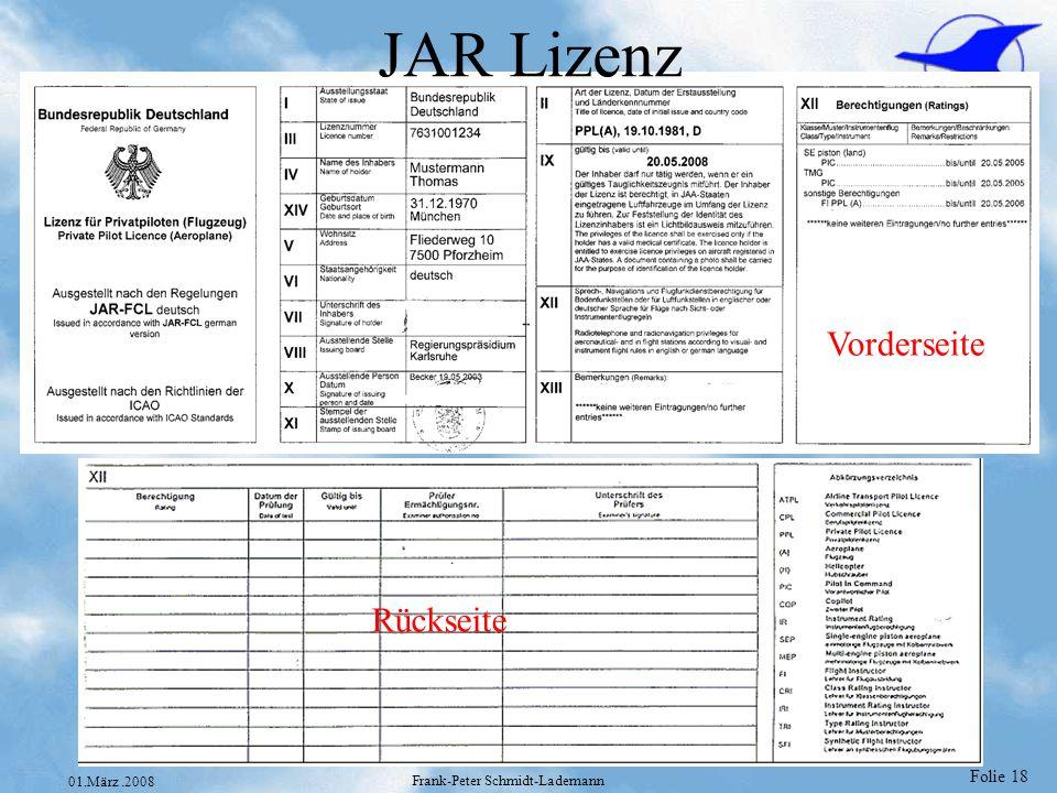 Folie 19 01.März.2008 Frank-Peter Schmidt-Lademann Lizenz Formulare National SPL (UL) GPL (Segelflug) PPL (National) PPL (nach ICAO Richtlinien bei Umschreibungen) Kein Paßbild 1/8 DIN A4