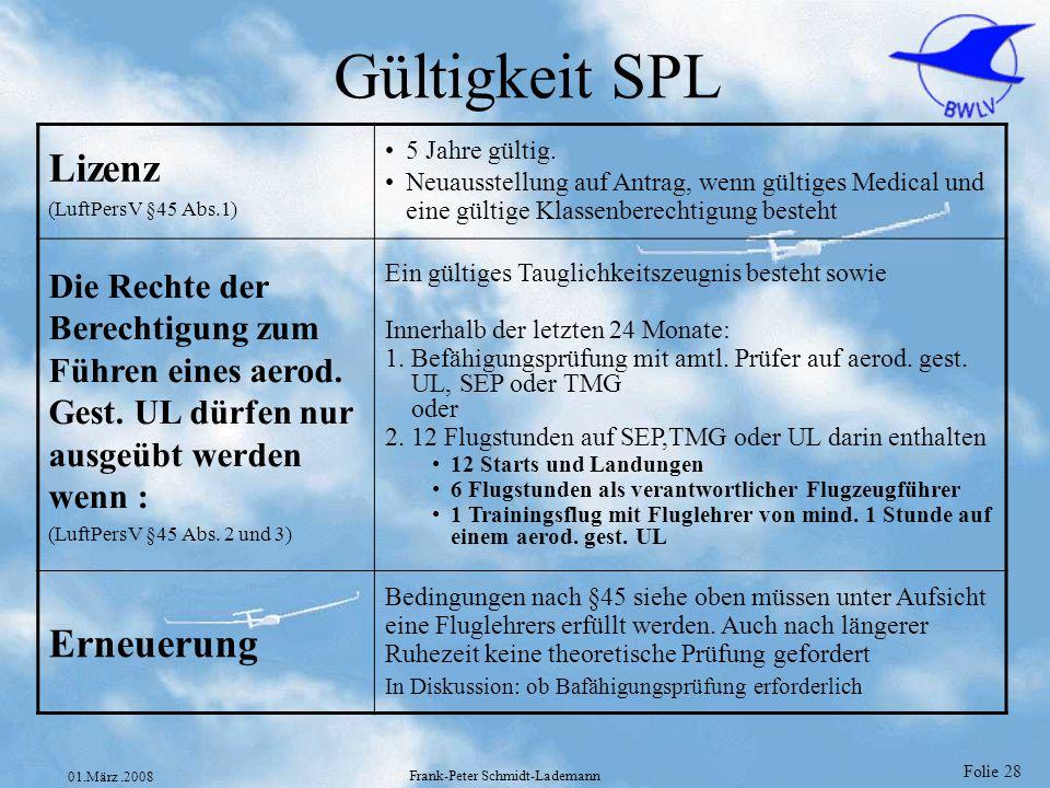 Folie 28 01.März.2008 Frank-Peter Schmidt-Lademann Gültigkeit SPL Lizenz (LuftPersV §45 Abs.1) 5 Jahre gültig. Neuausstellung auf Antrag, wenn gültige