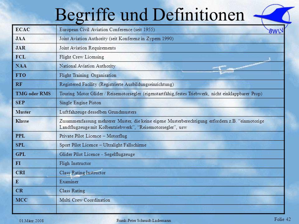 Folie 43 01.März.2008 Frank-Peter Schmidt-Lademann JAR-FCL Abschnitt A 1.001 Begriffe oAusbildungszeit oBeruflich tätiger Pilot oFlugzeit oNacht oPrivatpilot oReisemotorsegler(TMG) oStreckenabschnitt 1.005 Geltungsbereich 1.017 Anerkennungen /Berechtigungen für besondere Zwecke (nationale Berechtigungen) 1.025 Gültigkeit von Lizenzen und Berechtigungen 1.026 Fortlaufende Flugerfahrung für Piloten, die nicht nach JAR-OPS tätig sind (90 Tage Regel) 1.030 Prüfungsangelegenheiten 1.035 Flugmedizinische Tauglichkeit 1.060 Beschränkungen für Lizenzinhaber nach Vollendung des 60.