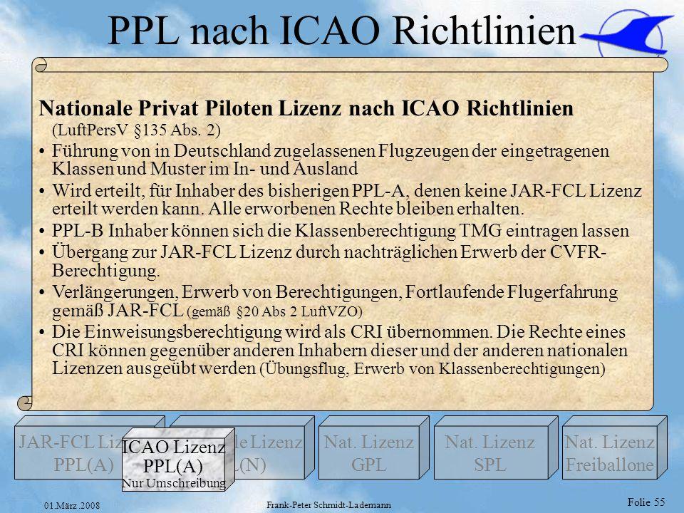 Folie 55 01.März.2008 Frank-Peter Schmidt-Lademann PPL nach ICAO Richtlinien Nationale Lizenz PPL(N) Nat. Lizenz GPL JAR-FCL Lizenz PPL(A) Nat. Lizenz