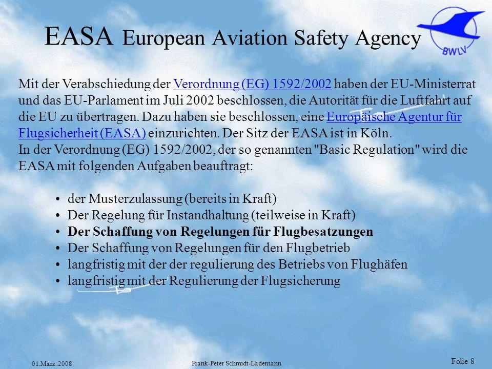 Folie 8 01.März.2008 Frank-Peter Schmidt-Lademann EASA European Aviation Safety Agency Mit der Verabschiedung der Verordnung (EG) 1592/2002 haben der
