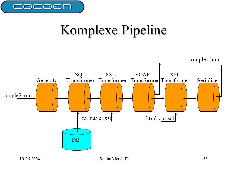 10.06.2004Stefan Metzlaff33 Komplexe Pipeline sample2.xml GeneratorTransformerSerializer formatier.xsl html-out.xsl SQL Transformer XSLSOAPXSL DB sample2.html