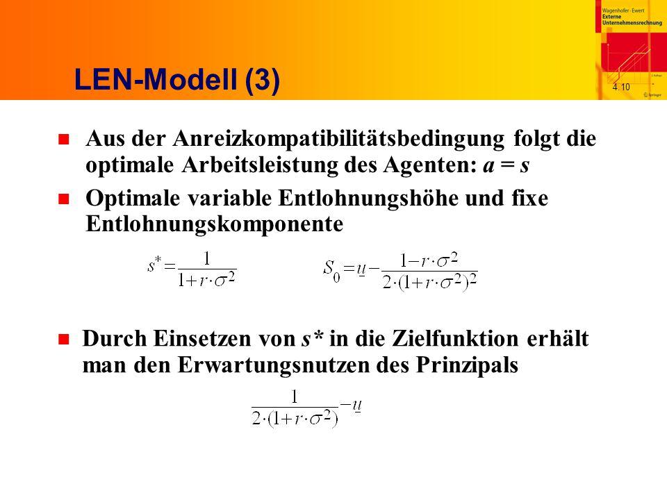 4.10 LEN-Modell (3) n Aus der Anreizkompatibilitätsbedingung folgt die optimale Arbeitsleistung des Agenten: a = s n Optimale variable Entlohnungshöhe und fixe Entlohnungskomponente n Durch Einsetzen von s* in die Zielfunktion erhält man den Erwartungsnutzen des Prinzipals